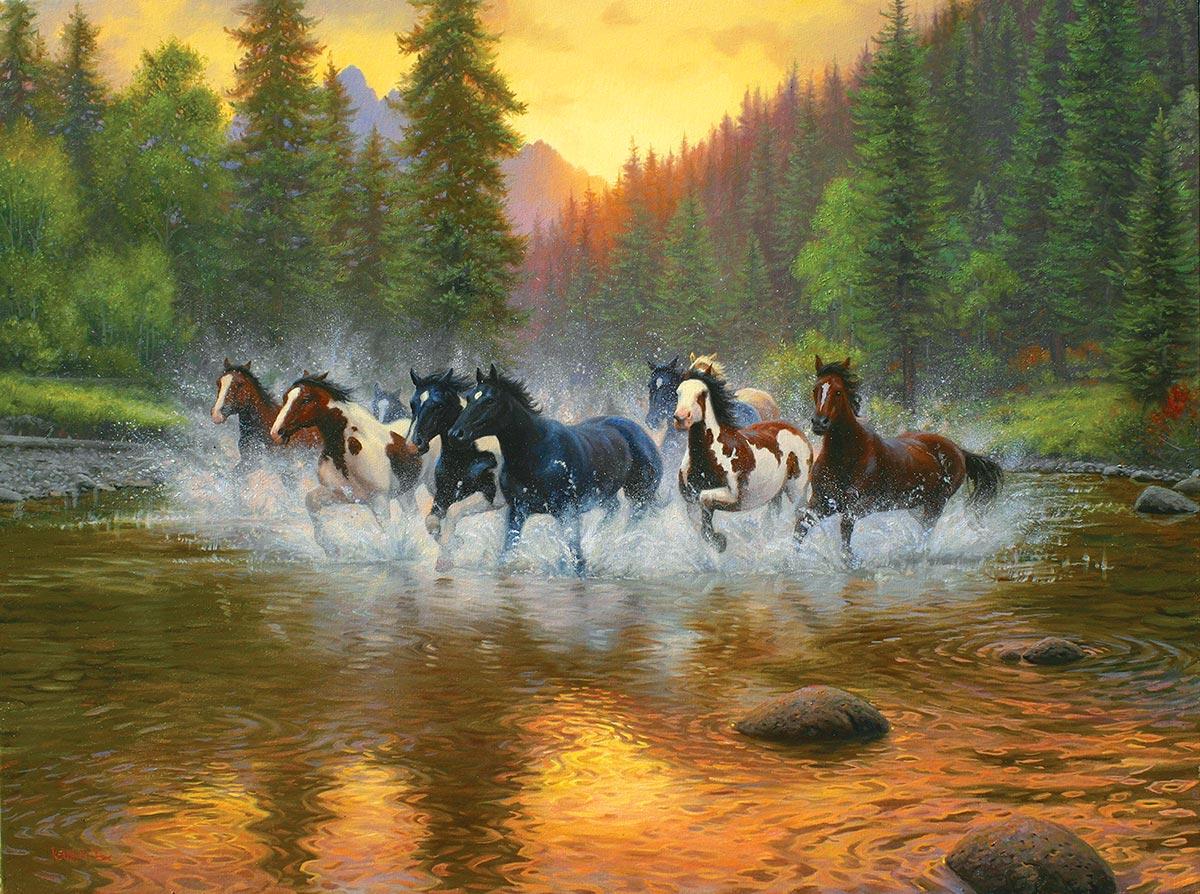 Evening Romp Horses Jigsaw Puzzle