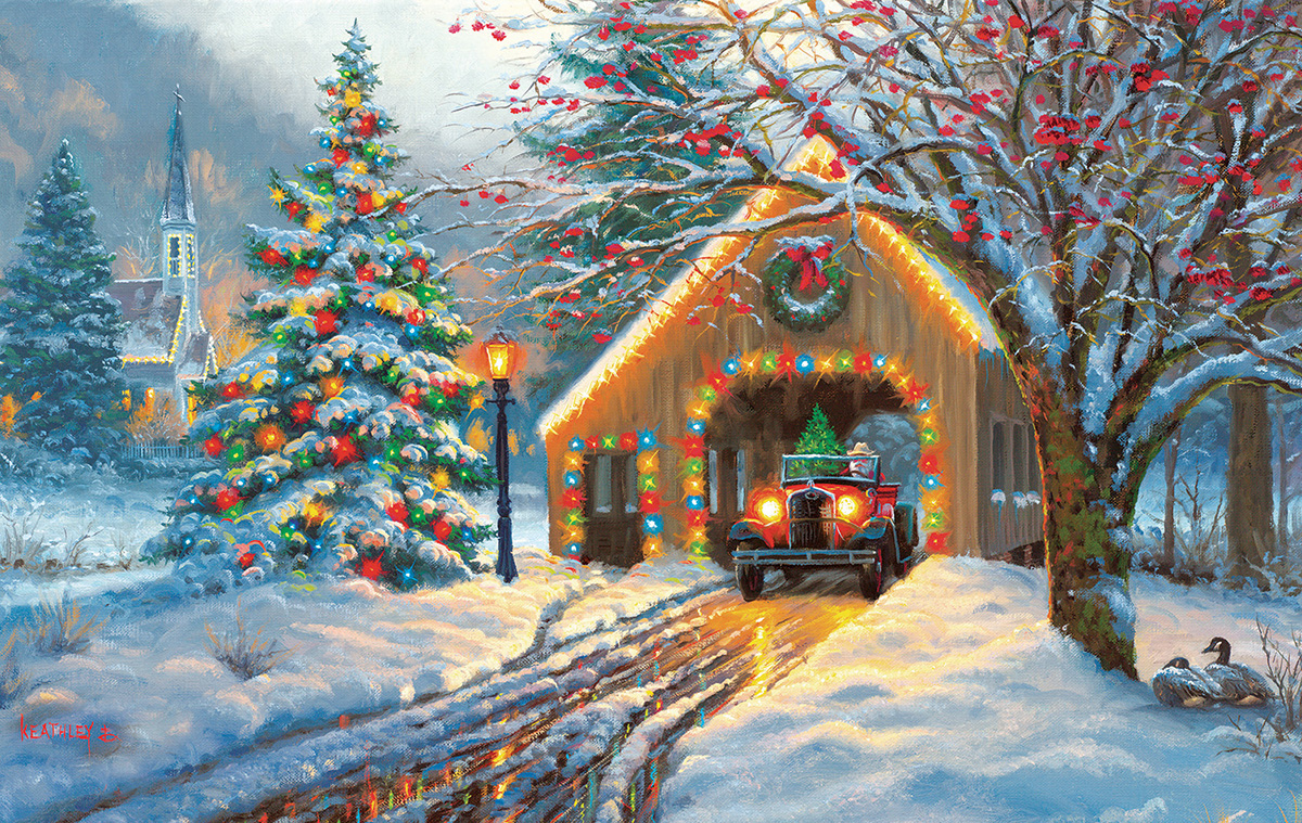 Chirstmas Crossing Countryside Jigsaw Puzzle