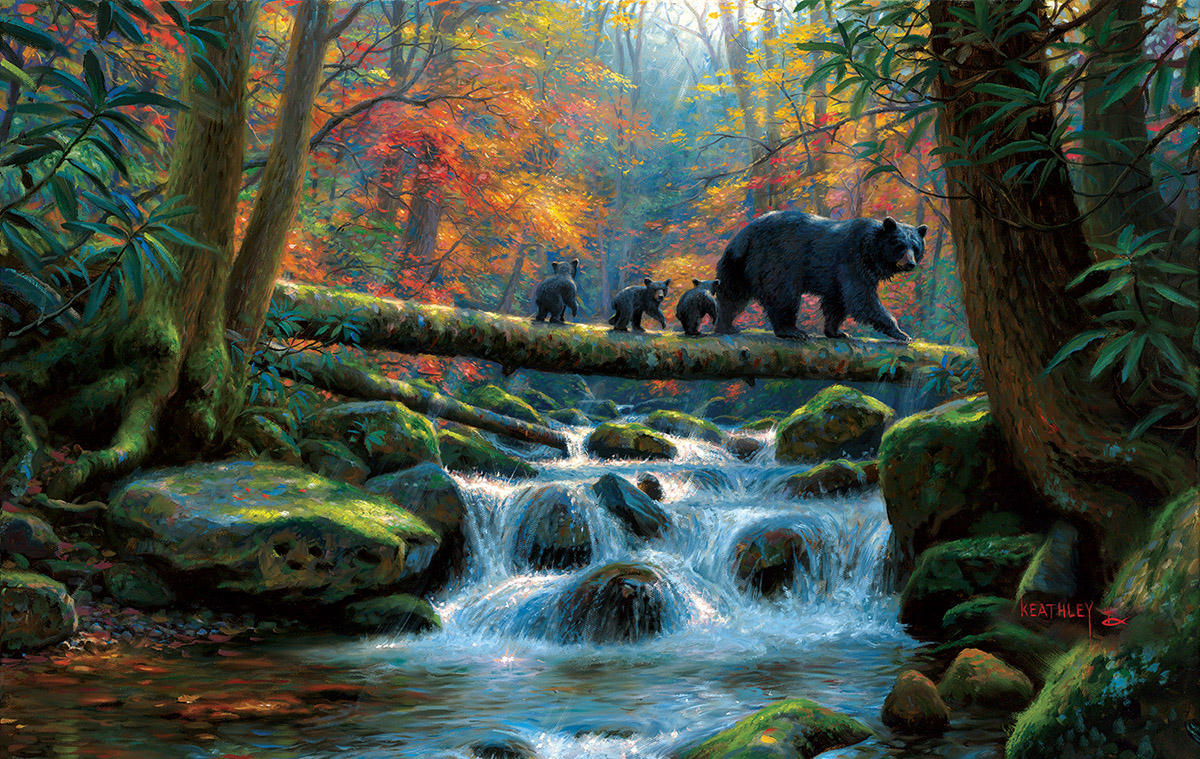 Precarious Crossing Fall Jigsaw Puzzle