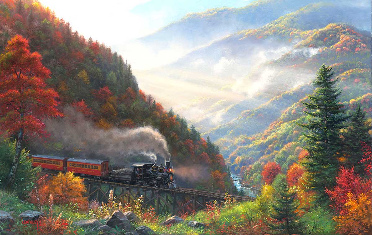 Great Smoky Mountain Railroad Trains Jigsaw Puzzle