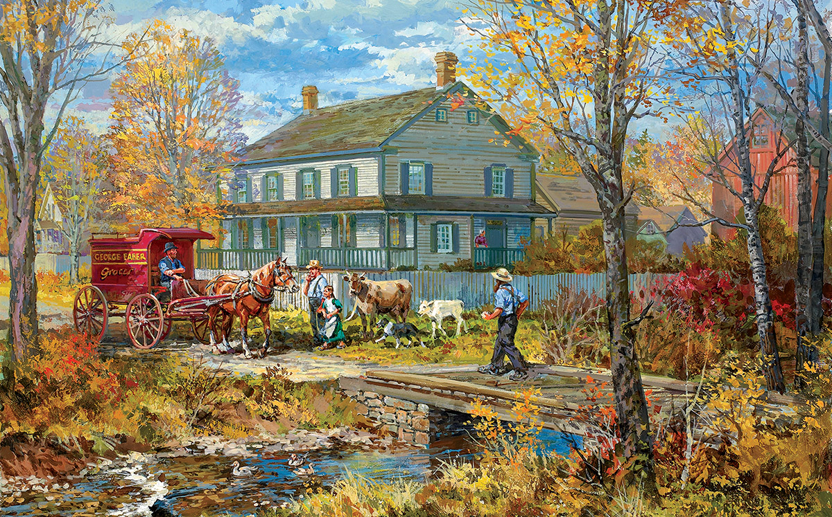 Autumn at the Schneider House Fall Jigsaw Puzzle