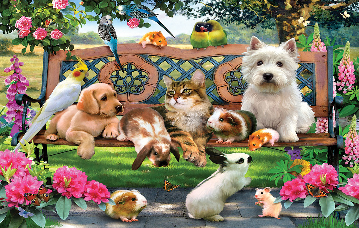 Park Bench Pals Cats Jigsaw Puzzle