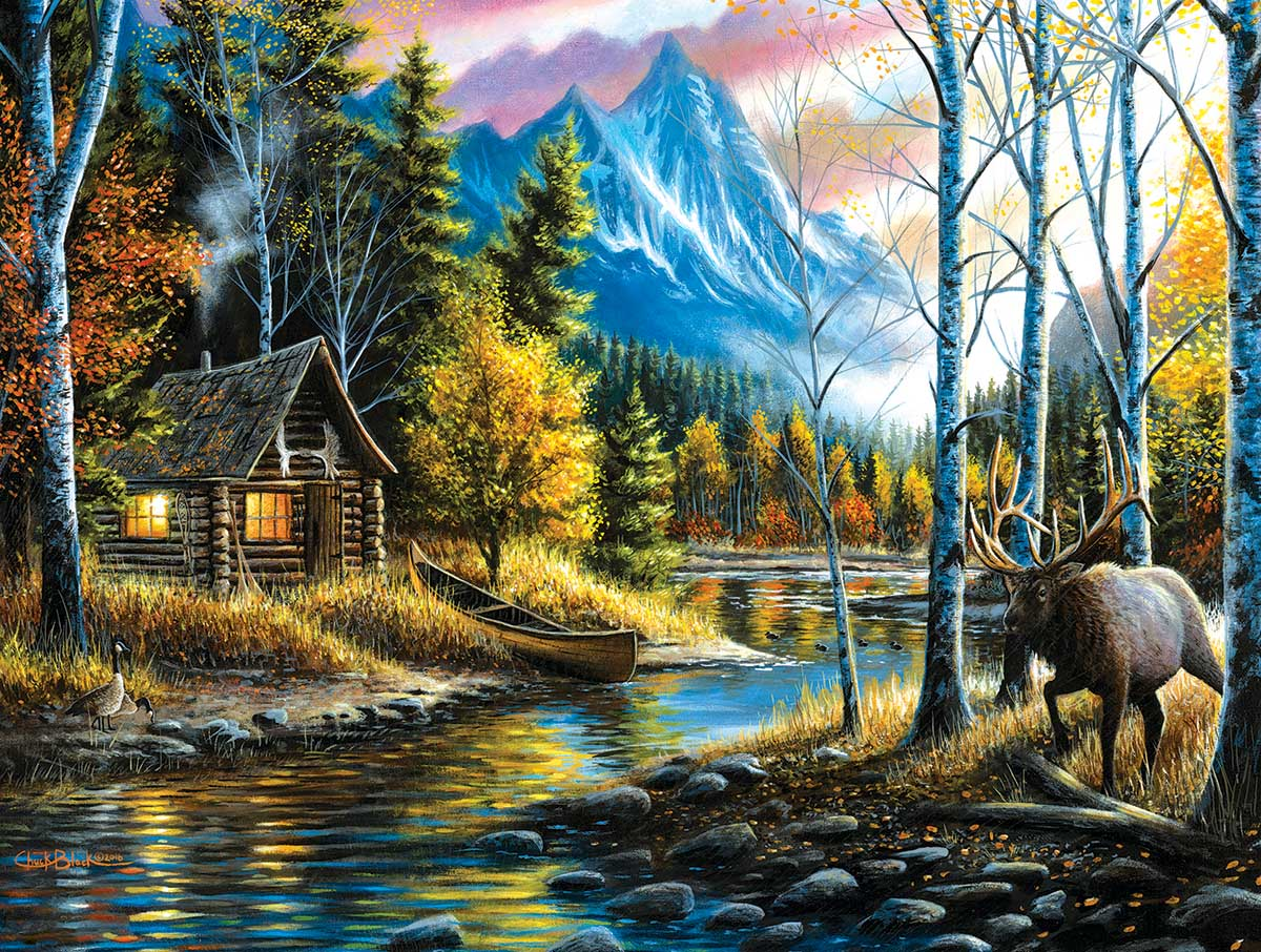 Peaceful Setting Mountains Jigsaw Puzzle