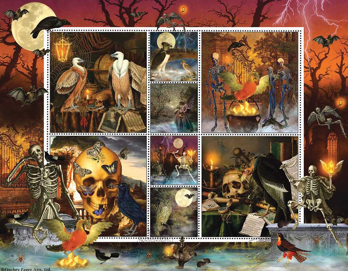 Halloween Stamps: Skeleton Dance Halloween Jigsaw Puzzle