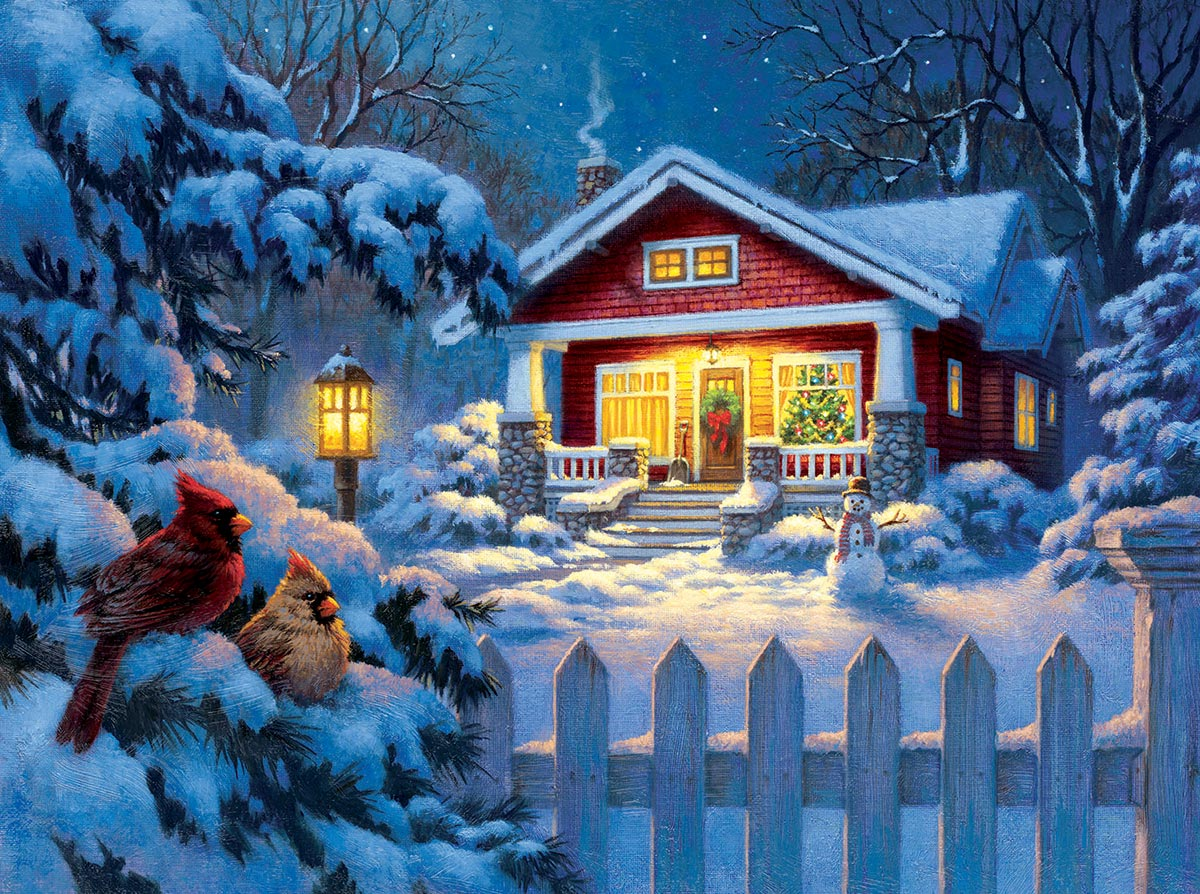 Christmas Bungalow Birds Jigsaw Puzzle