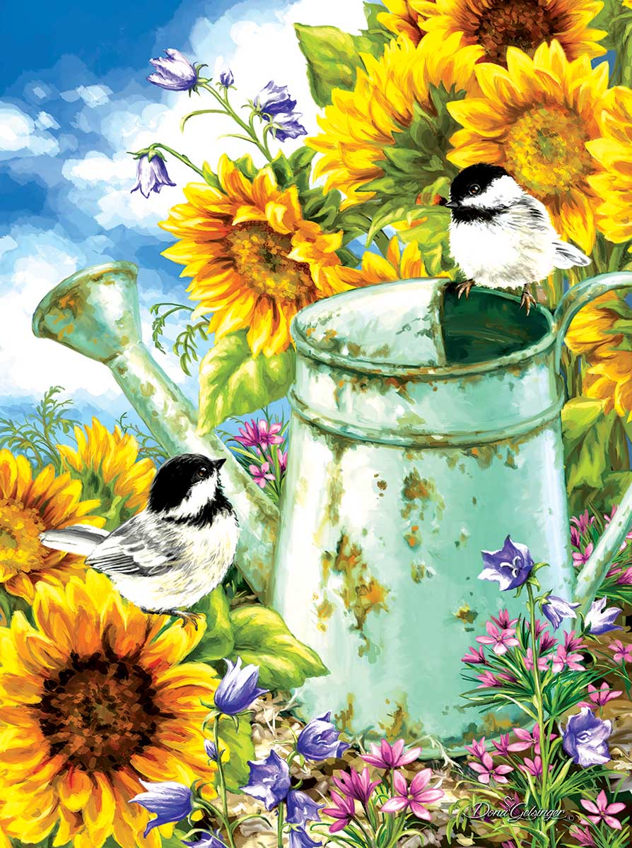 Sunflower Garden Birds Jigsaw Puzzle