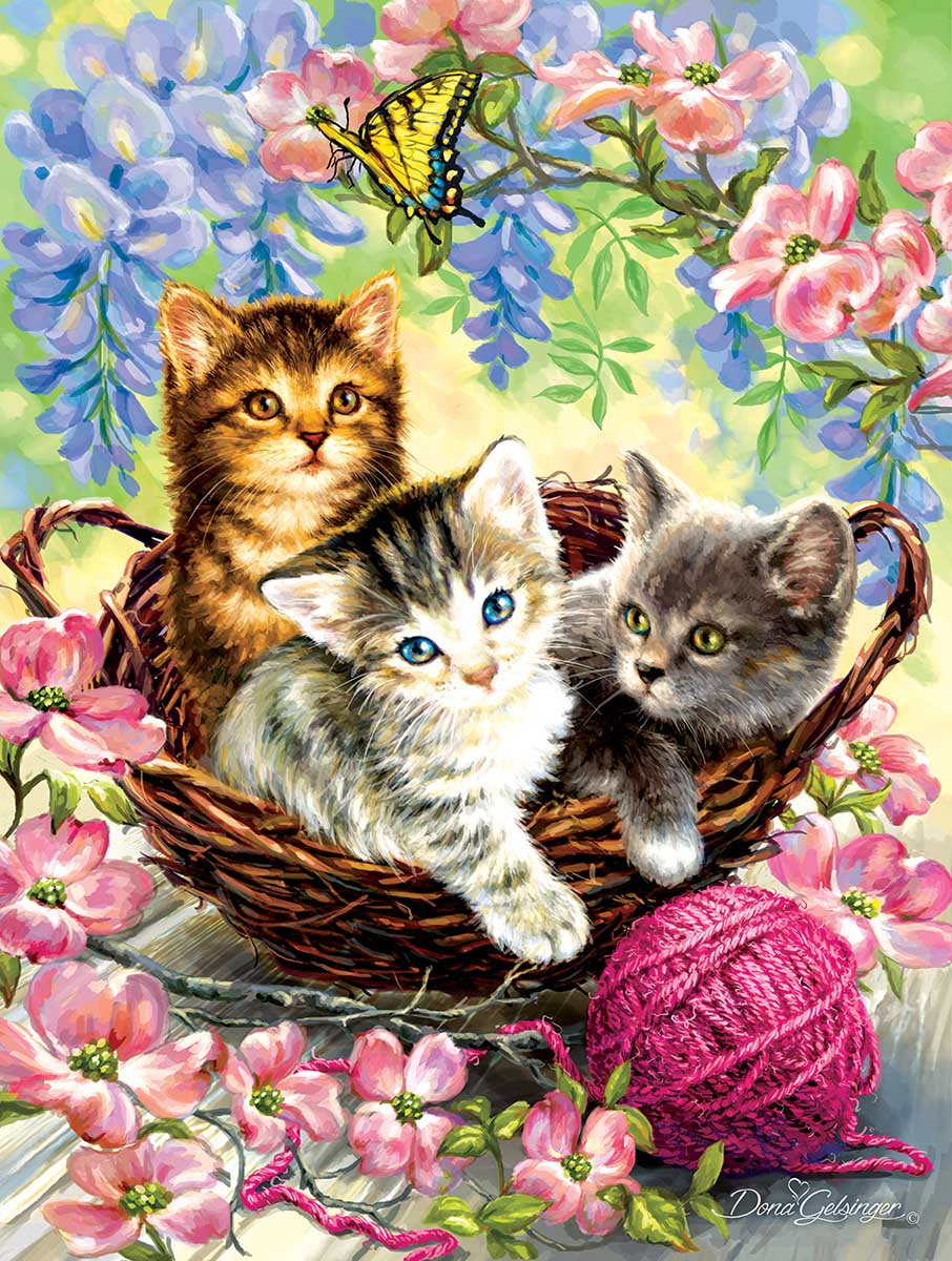 Kittens and Flowers Cats Jigsaw Puzzle