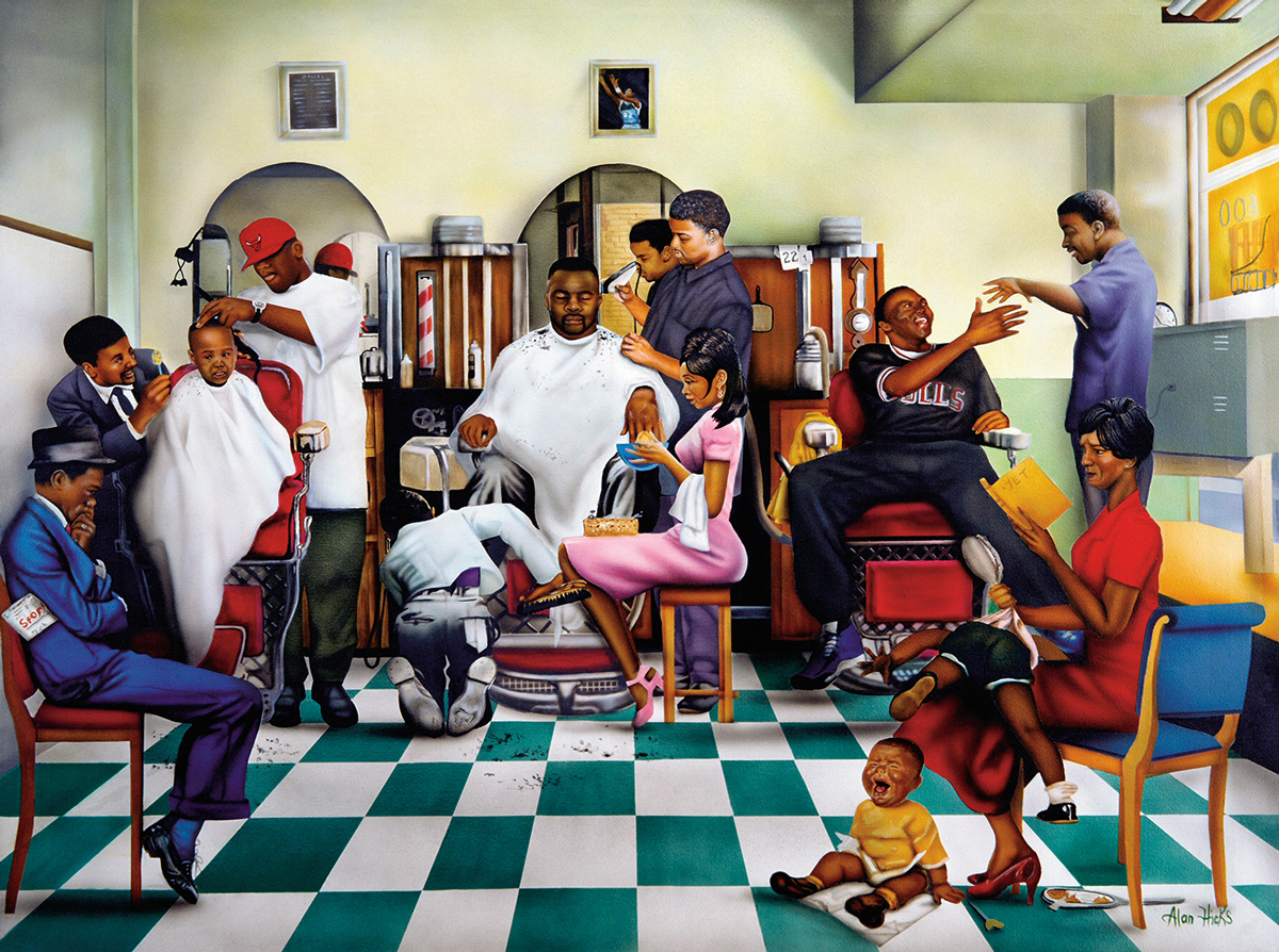 Hanging at the Shop Domestic Scene Jigsaw Puzzle