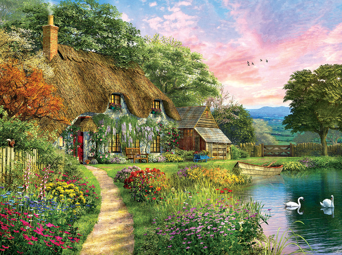 Sunset Country Cottage Landscape Jigsaw Puzzle