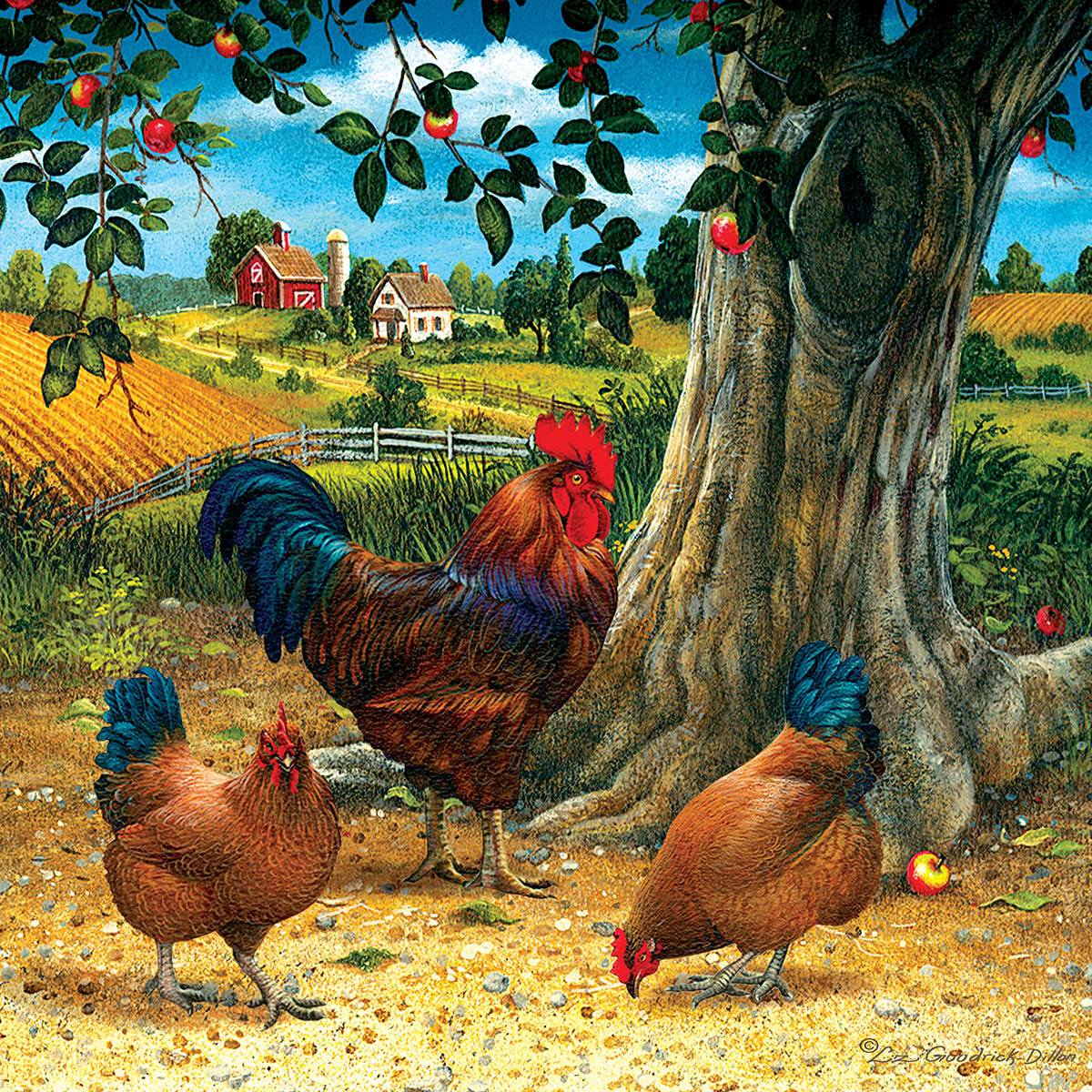Rooster and Hens Chickens & Roosters Jigsaw Puzzle