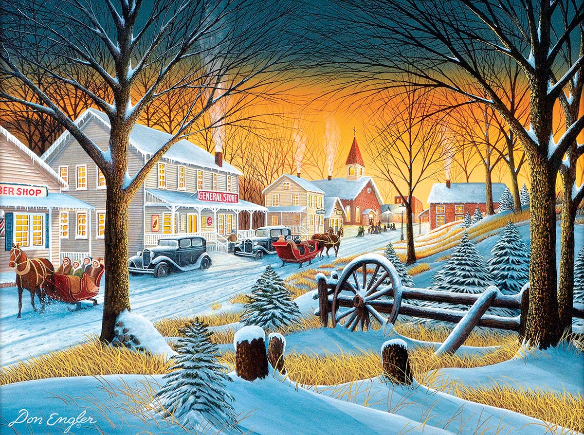 Downtown Saturday Night Snow Jigsaw Puzzle