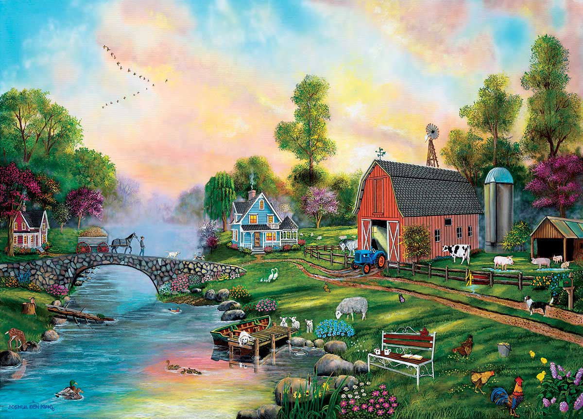 Bridge to the Farm Farm Jigsaw Puzzle