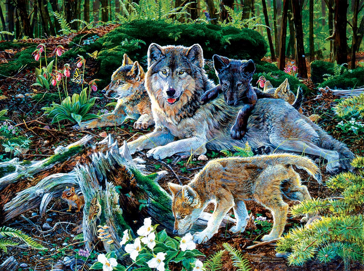 Forest Wolf Family Wolves Jigsaw Puzzle