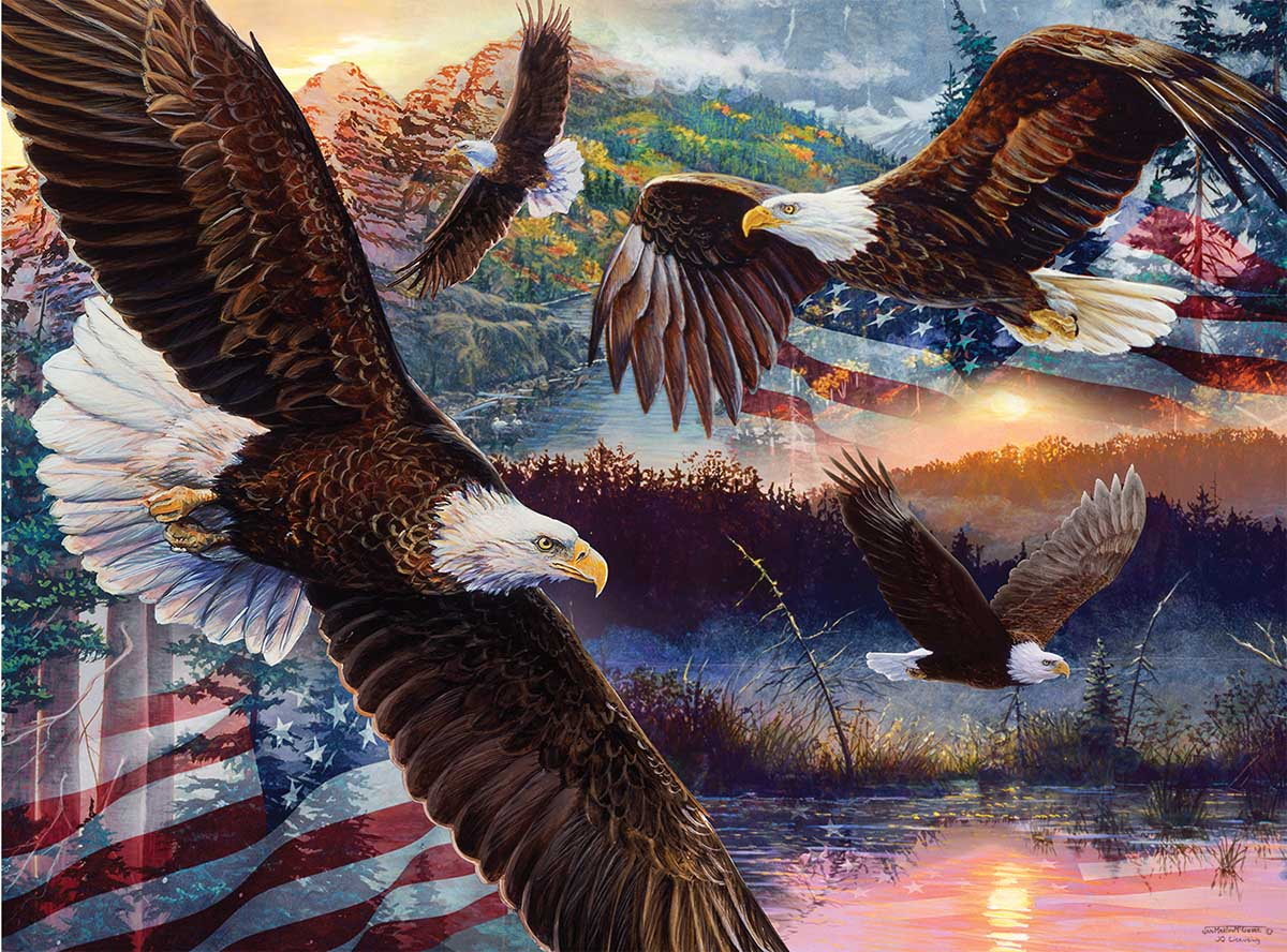 Land of Freedom Eagles Jigsaw Puzzle