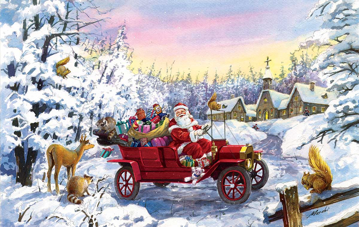Thoroughly Modern Santa Winter Jigsaw Puzzle