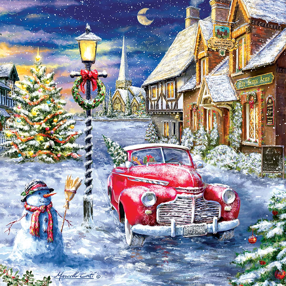 A Red Car for Christmas Vehicles Jigsaw Puzzle