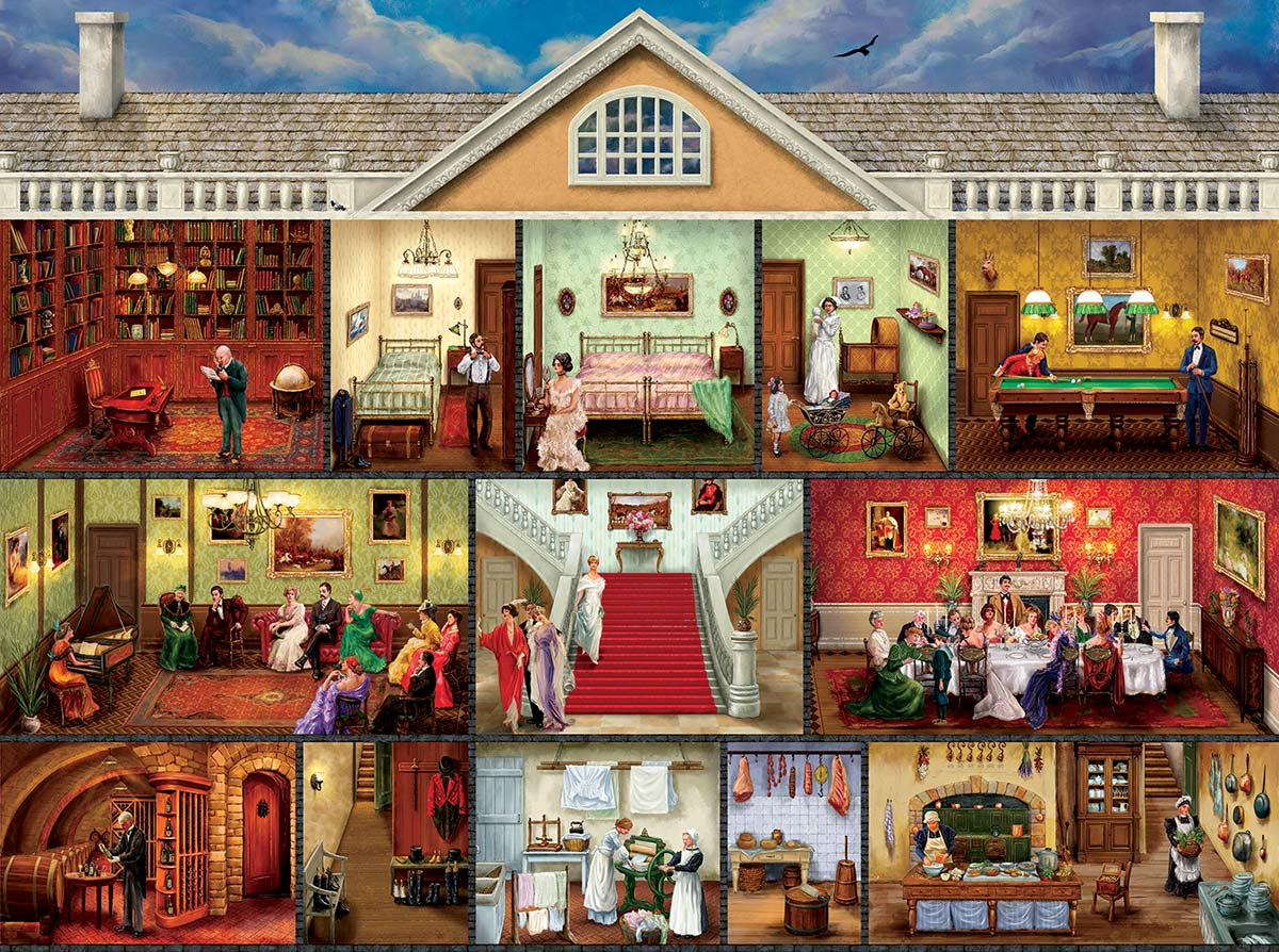 Upstairs and Downstairs Domestic Scene Jigsaw Puzzle