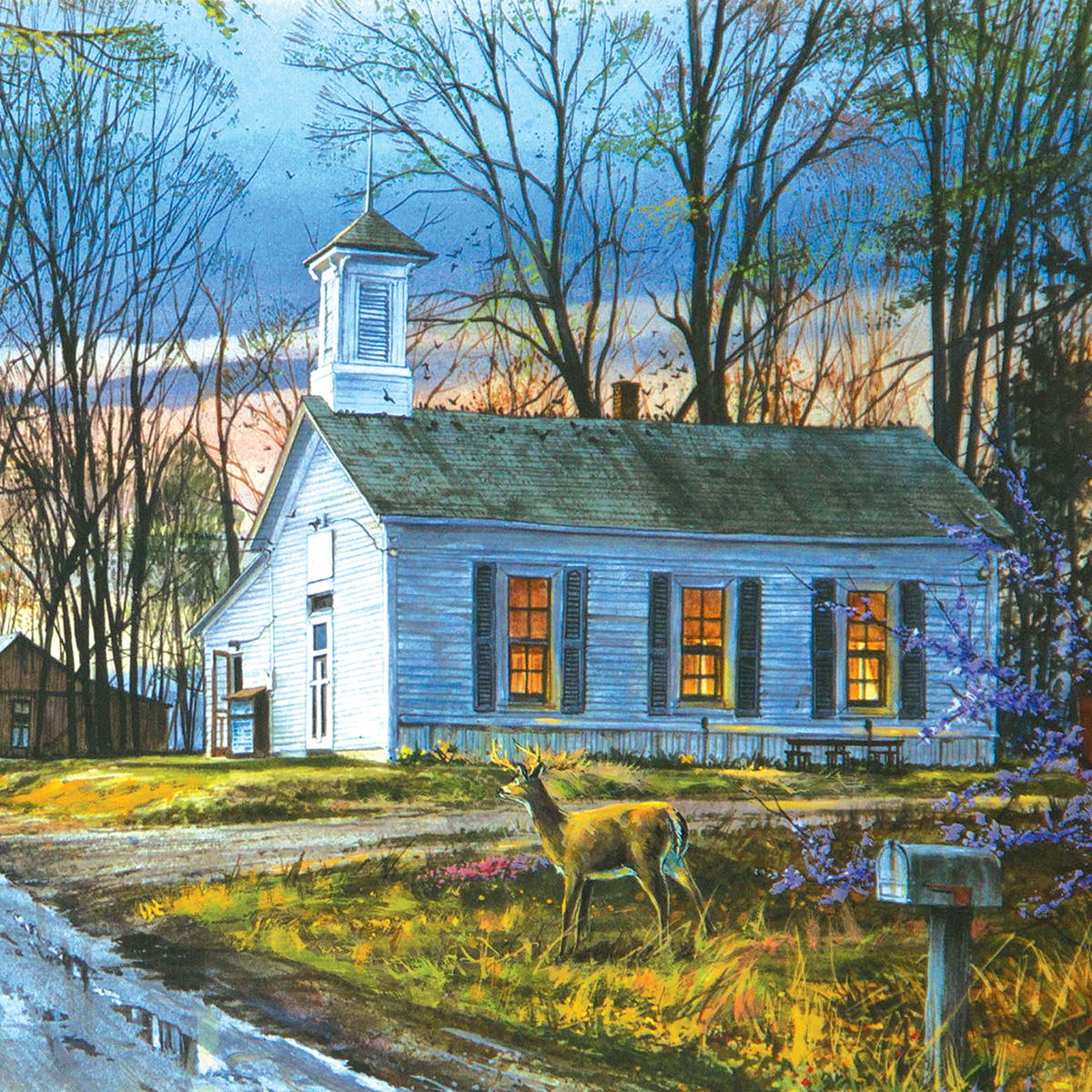 Evening Meeting - Scratch and Dent Churches Jigsaw Puzzle