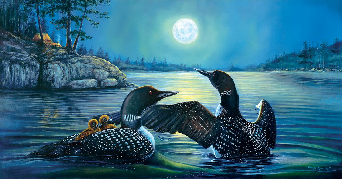 Moonlight Serenade Birds Jigsaw Puzzle