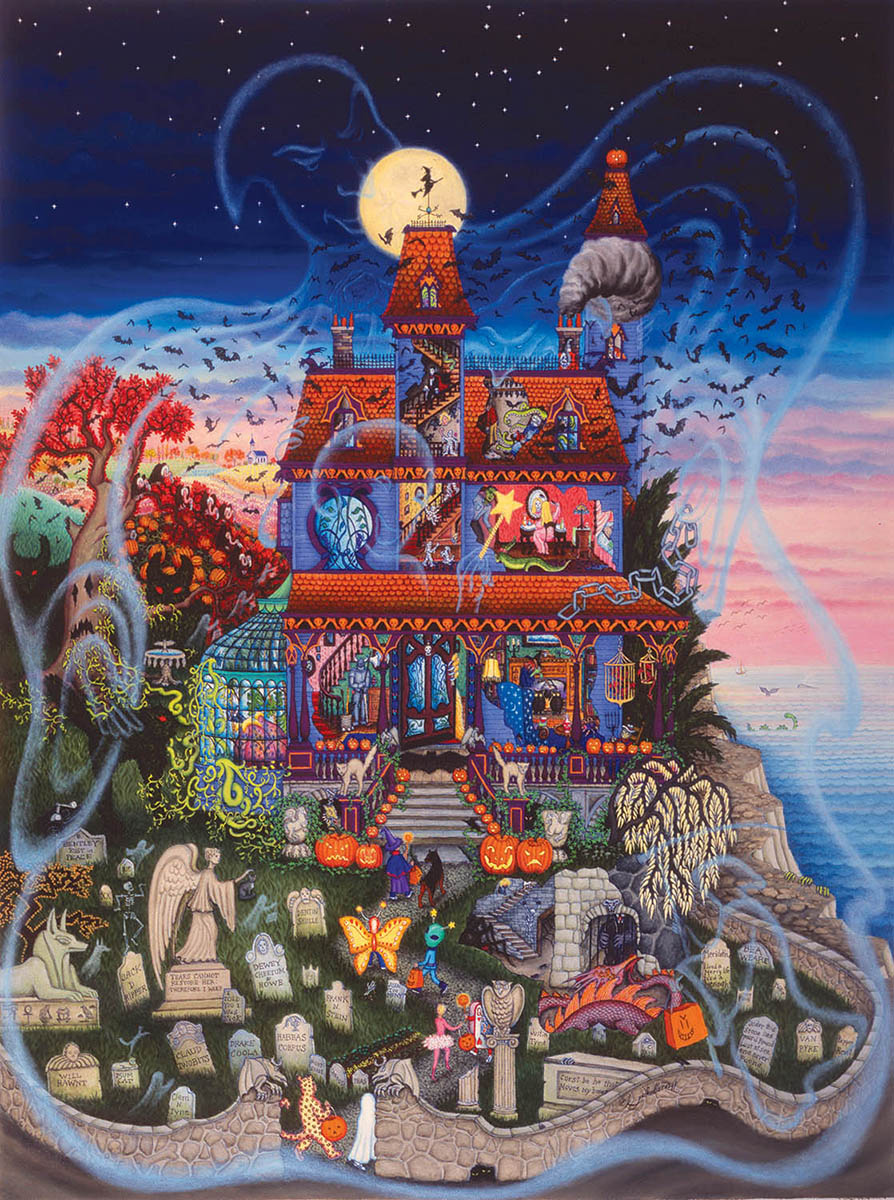 The Ghost and the Haunted House Halloween Jigsaw Puzzle
