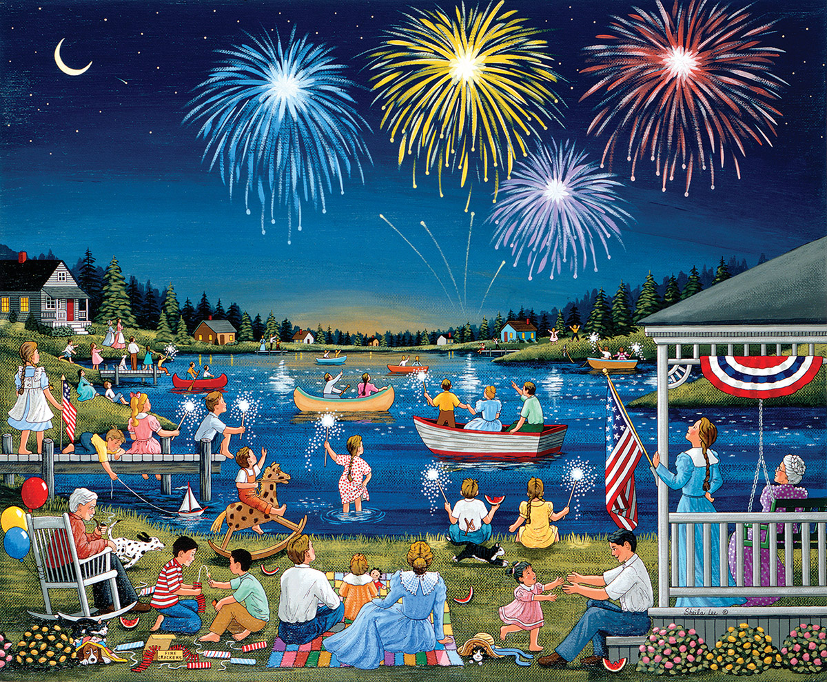 Lakeside on the Fourth of July Fourth of July Jigsaw Puzzle