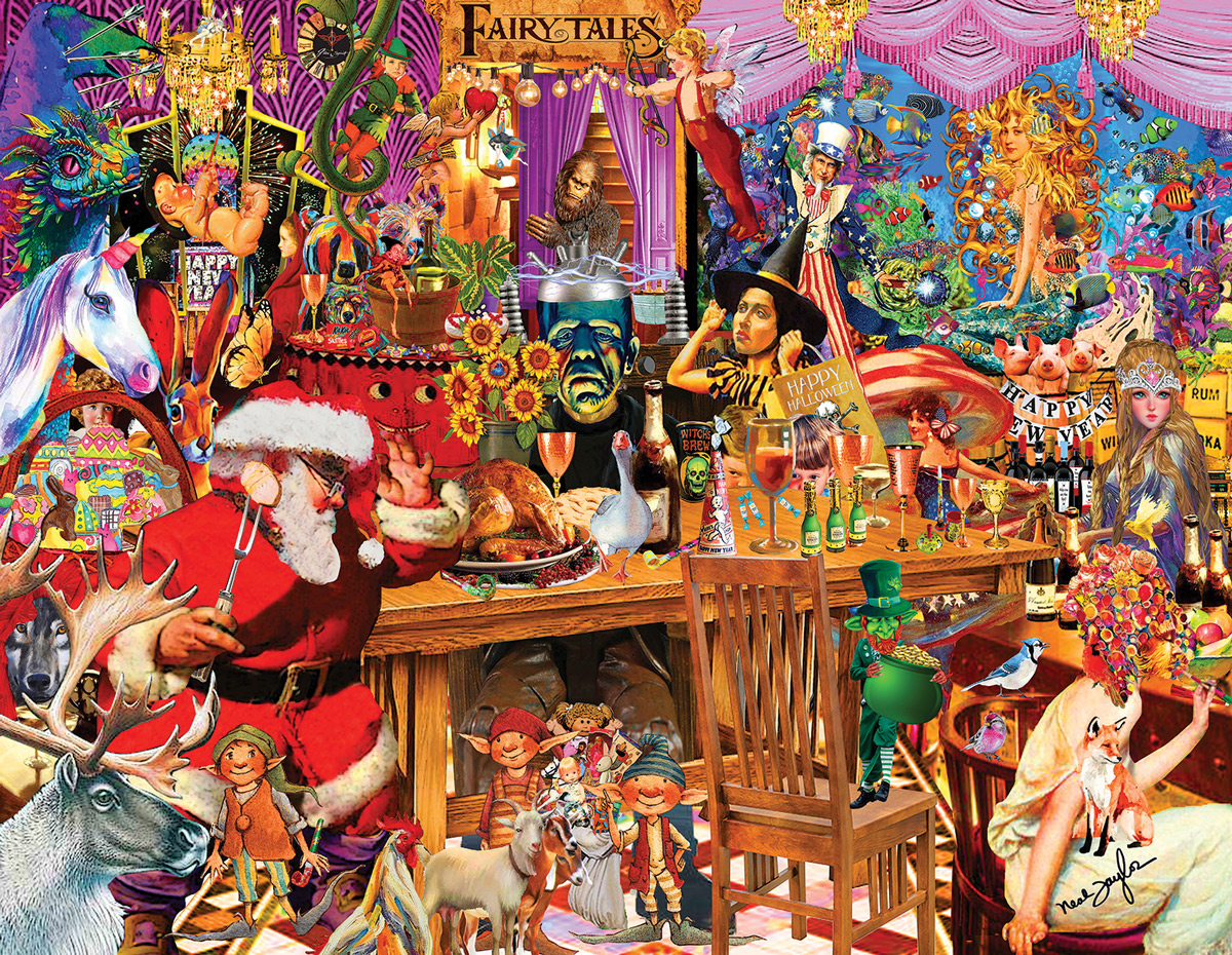 Fairy Tale Collage Christmas Jigsaw Puzzle
