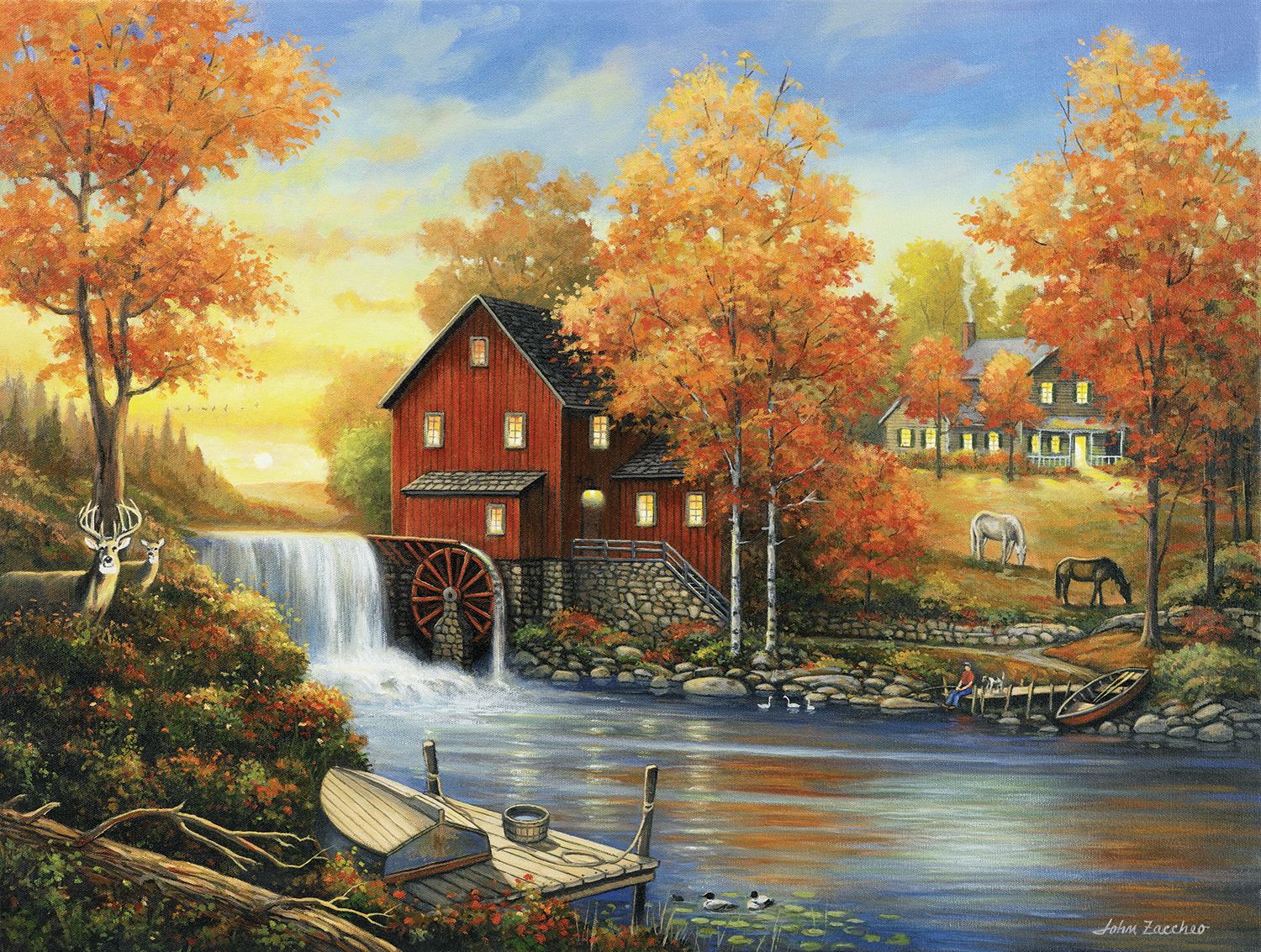 Sunset at the Old Mill Fall Jigsaw Puzzle