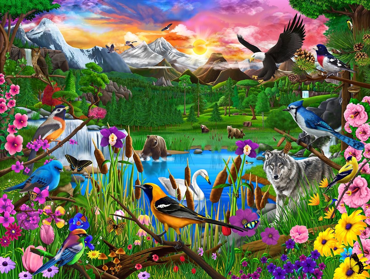Gathering at Yellowstone Birds Jigsaw Puzzle