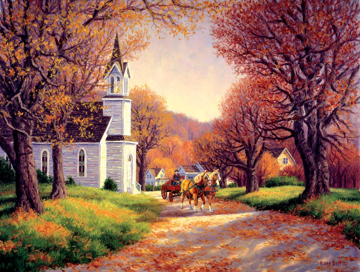 Road by the Church Fall Jigsaw Puzzle