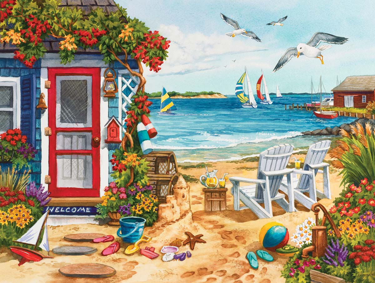 Beach Summer Cottage Beach Jigsaw Puzzle