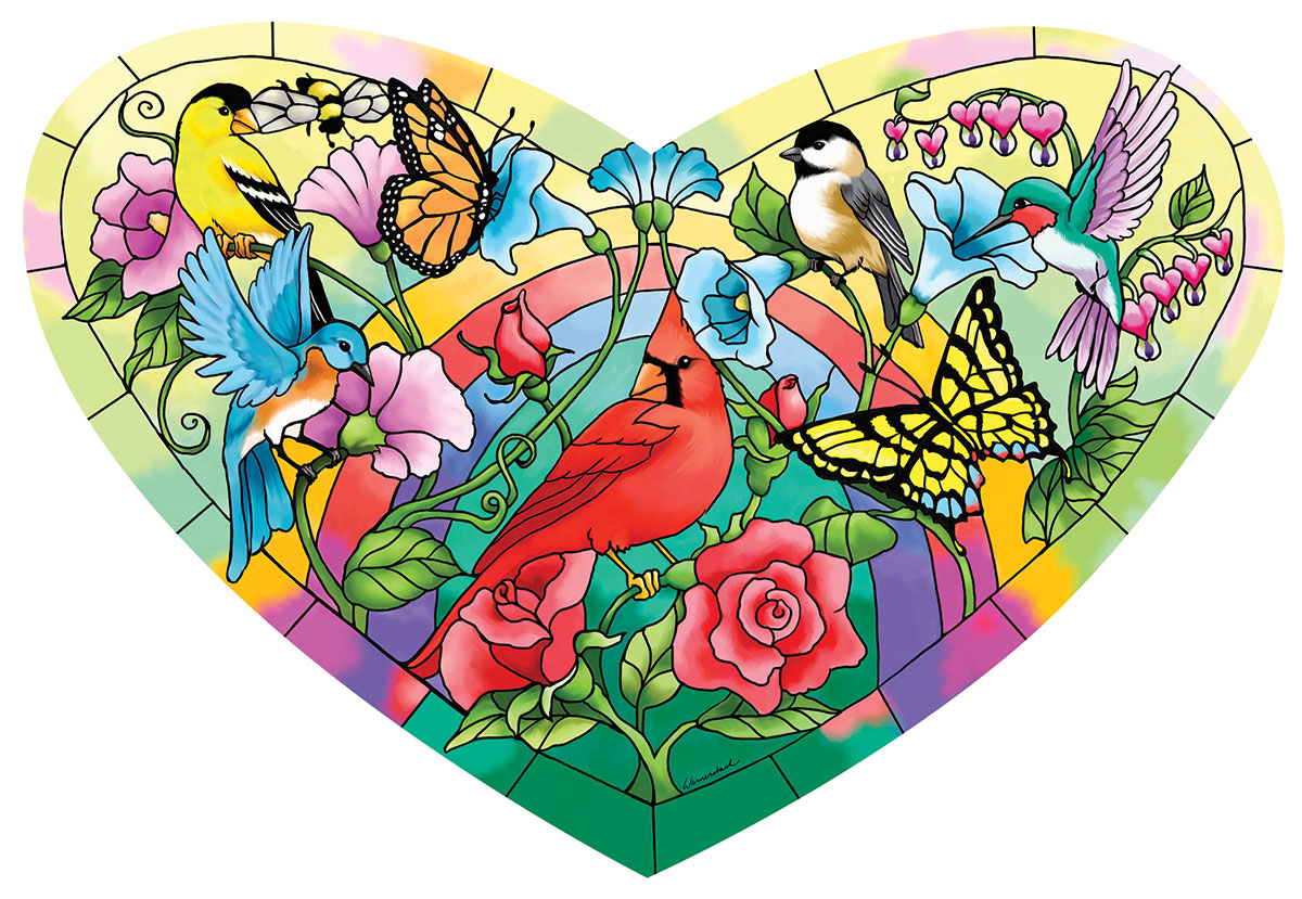 Heart of the Garden Birds Shaped Puzzle