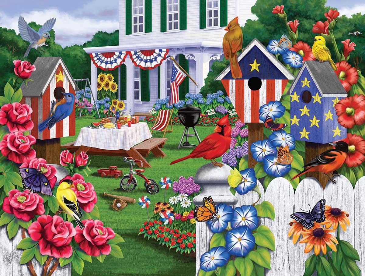 Backyard Party Birds Jigsaw Puzzle