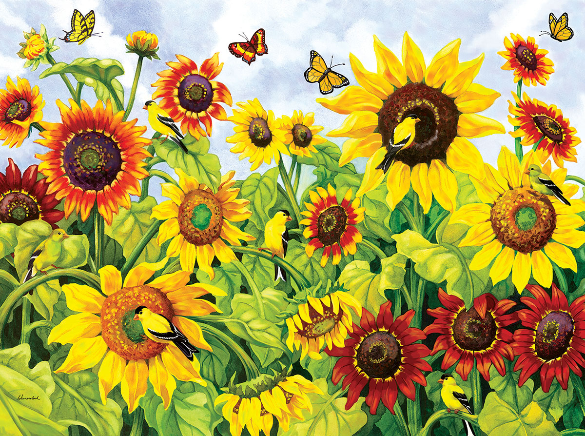 Sunflowers & Goldfinches Birds Jigsaw Puzzle