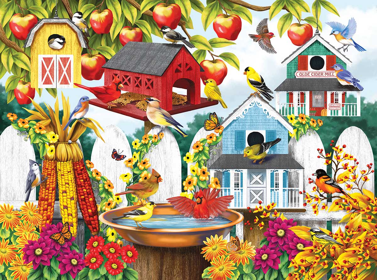 Autumn Backyard Birds Jigsaw Puzzle