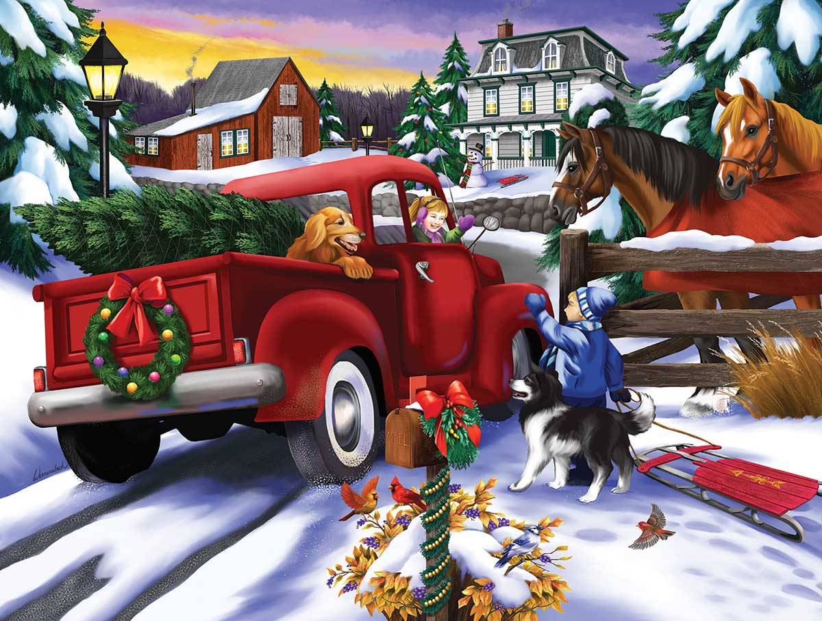 Bringing Home the Tree Christmas Jigsaw Puzzle