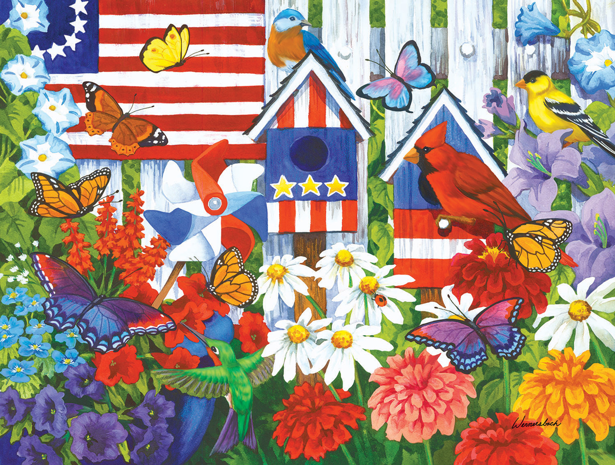 Red White and Bluebird Birds Jigsaw Puzzle