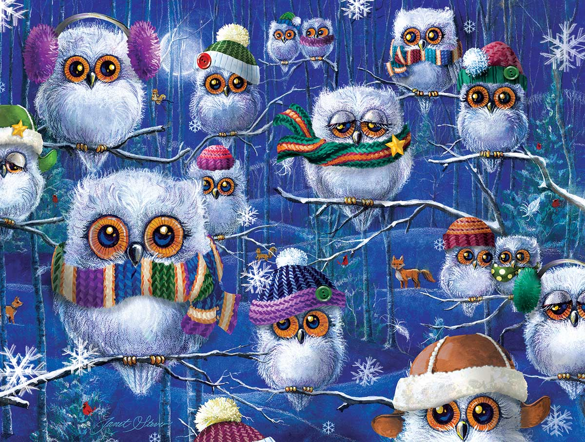 Night Owls with Hats Birds Jigsaw Puzzle