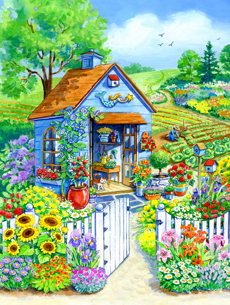 Path to the Garden Shed Flowers Jigsaw Puzzle