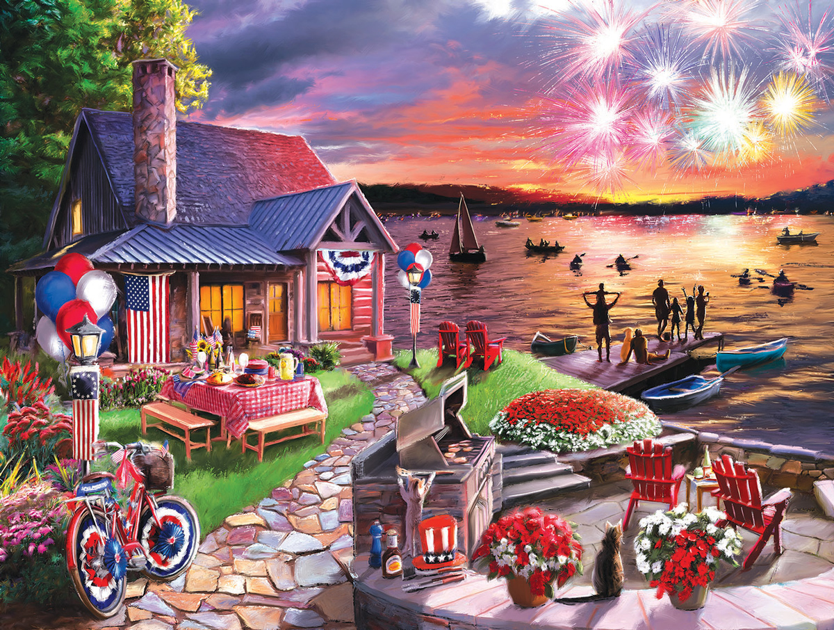 On the Lake on the Fourth Fourth of July Jigsaw Puzzle