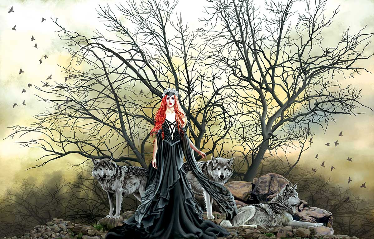 Red Haired Witch Wolves Jigsaw Puzzle