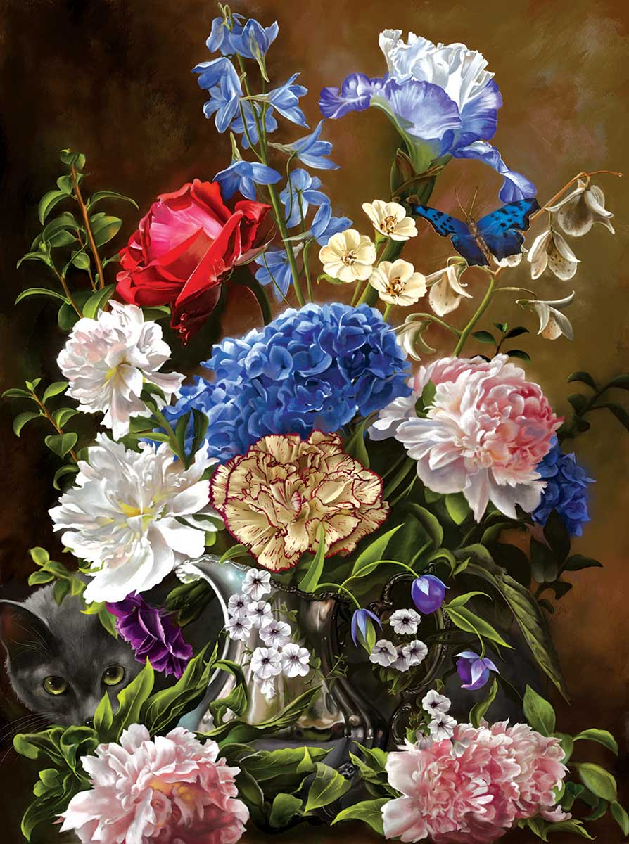 Bouquet in Blue Cats Jigsaw Puzzle