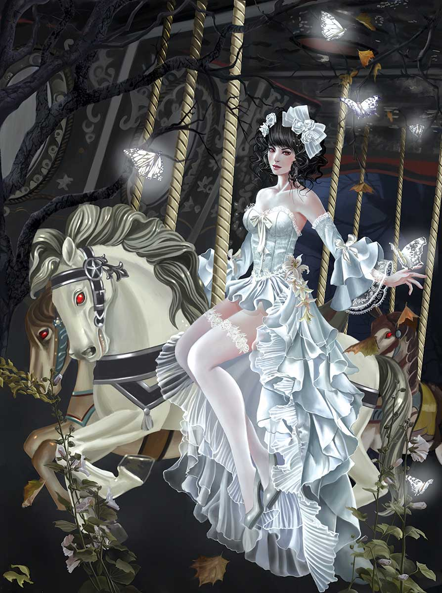 Haunted Carousel Gothic Jigsaw Puzzle