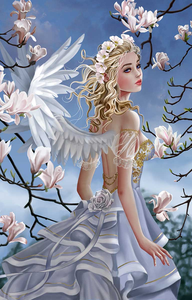 Angel and Magnolias Fantasy Jigsaw Puzzle