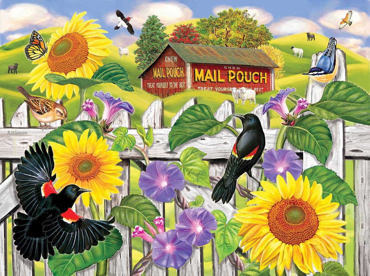 Sunflowers and Blackbirds Birds Jigsaw Puzzle