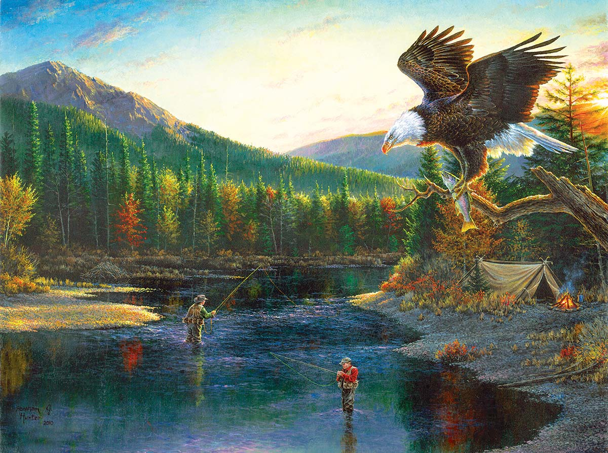 Fishermen Eagles Jigsaw Puzzle
