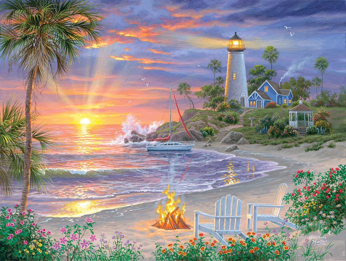 Honeymoon Sunset Beach Jigsaw Puzzle