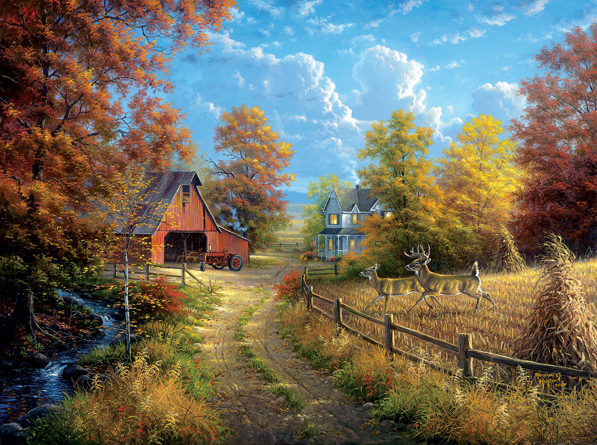Down the Country Road Farm Jigsaw Puzzle