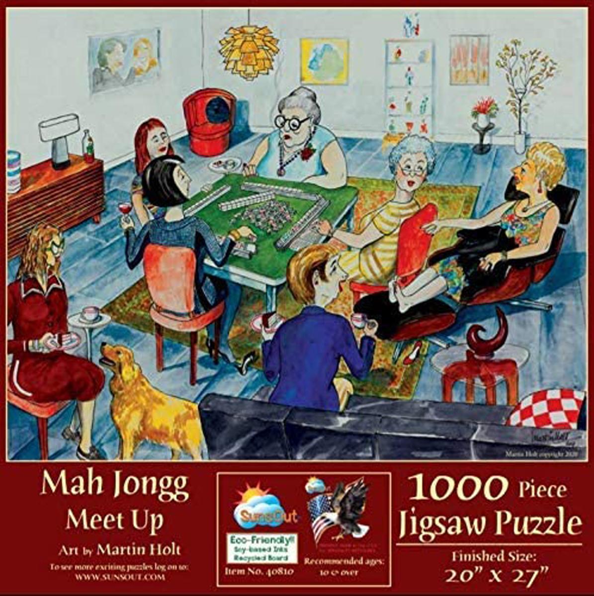 Mah Jongg Meet Up Domestic Scene Jigsaw Puzzle