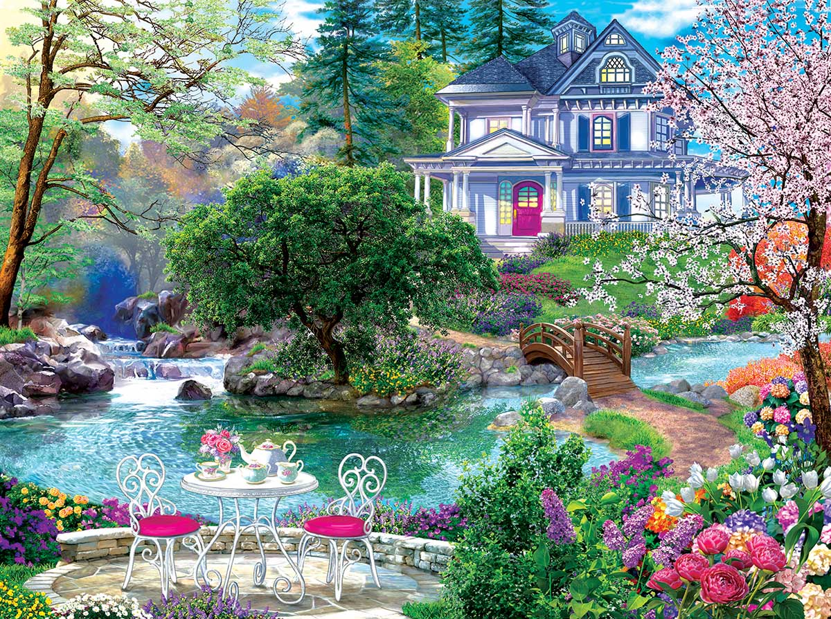 Waterside Tea Landscape Jigsaw Puzzle