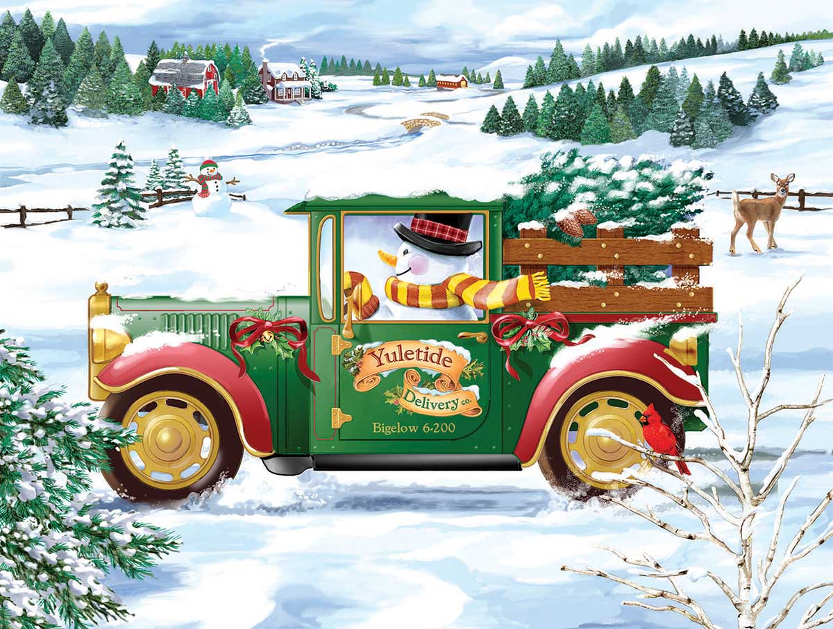 Snowman Delivery Cars Jigsaw Puzzle